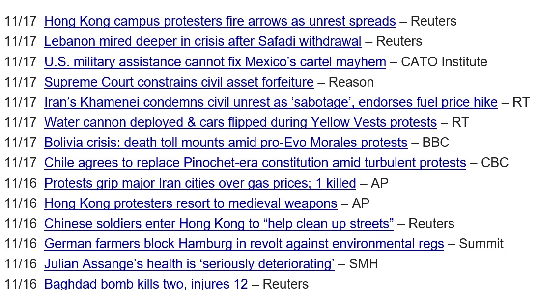 DollarCollapse.com links list civil unrest